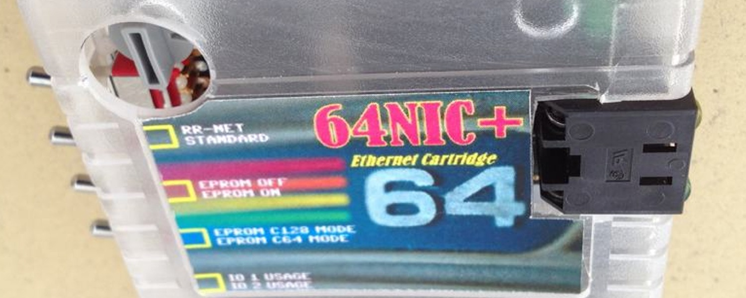 64 NIC+ ethernet network cartridge using RR-net, NET-64 or the TFE system