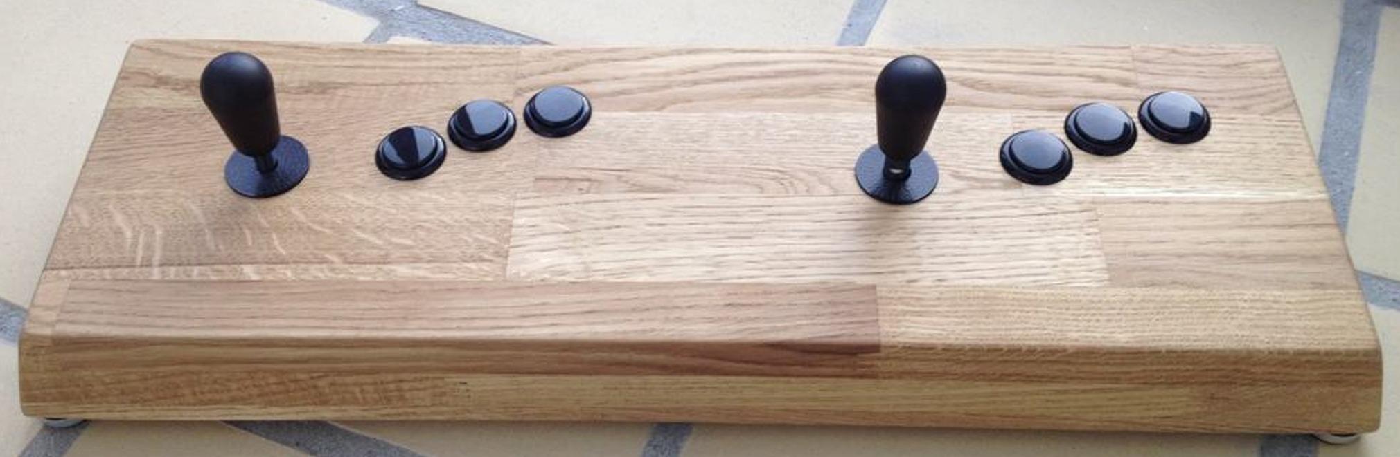 Woody fight stick II arcade fight stick made from oak wood using Seimitsu buttons and Sanwa joysticks