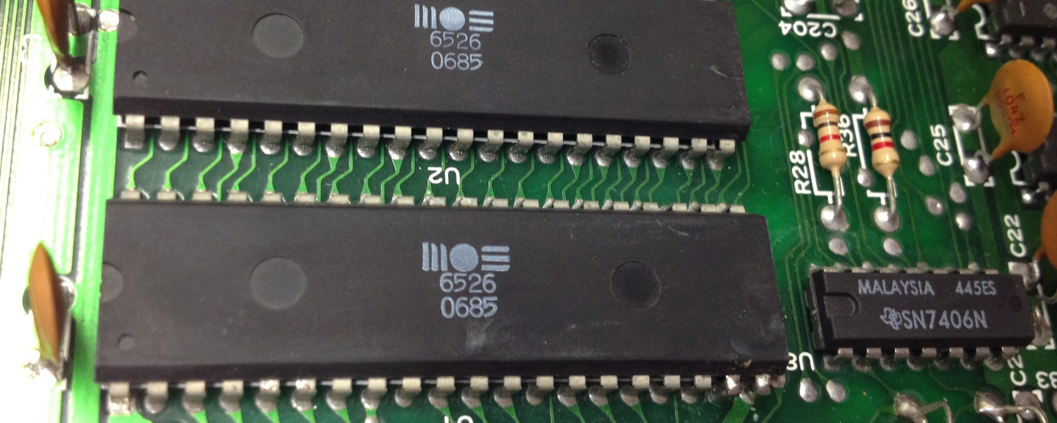 Commodore 64 Assy No. 250425 Rev. A repair log with a broken power switch and CIA chip at U1 (MOS 6526)