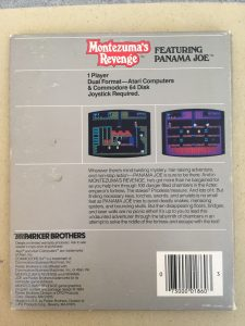 Montezuma's Revenge Commodore 64 game from Parker Brothers. Backside of the diskette game