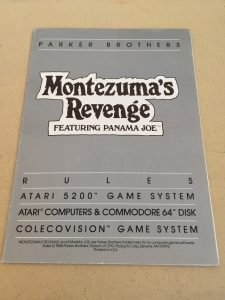 Montezuma's Revenge Parker Brothers game manual