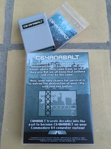 Commodore 64 C64anabalt game review on breadbox64.com. Bacside of the Universal Game Cases with custom foam inserts.