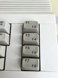 Commodore 64C keyboard with strange looking keys.