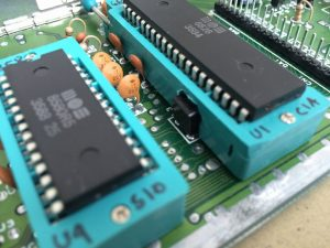 Commodore 64 Zero Insertion Force (ZIF) socket mod. C64 Assy 250469 board modified with ZIF sockets for easy IC chip testing.