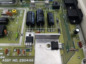 Commodore 64 Version B3, Assy 250466 motherboard. Capacitor and voltage regulator mods. See more on breadbox64.com