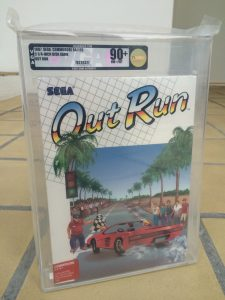 Commodore 64 Sega Out run Video Game Authority grade of 90+ (near mint+/mint condition). Read the post on breadbox64.com