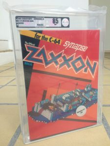 Commodore 64 Synapse Zaxxon Video Game Authority grade of 85 (near mint+ condition). Read the post on breadbox64.com