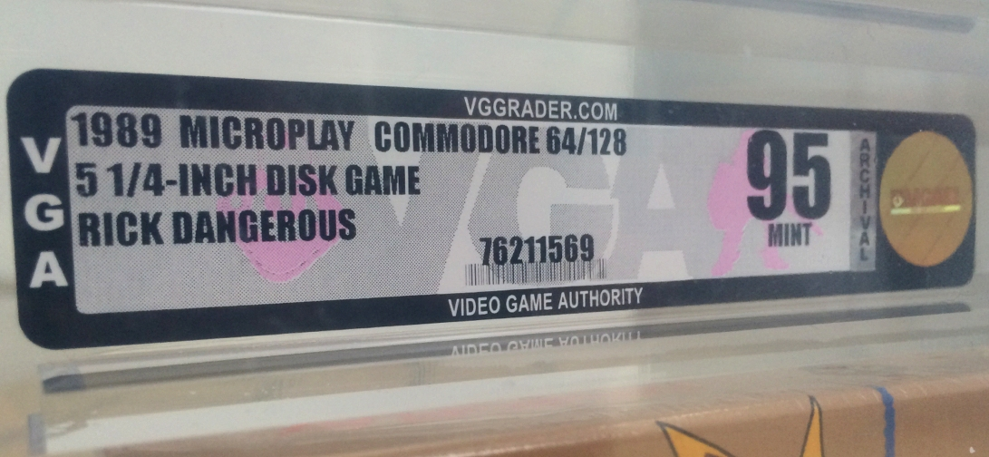 Commodore 64 Rick Dangerous Video Game Authority grade of 95 (mint condition). Gold level. Read the post on breadbox64.com
