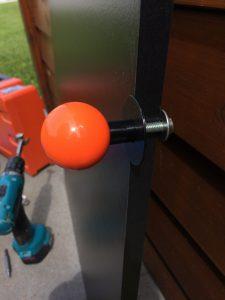 Arcade Kick plate door handle using a Sanwa joystick knob. Breadbox64.com