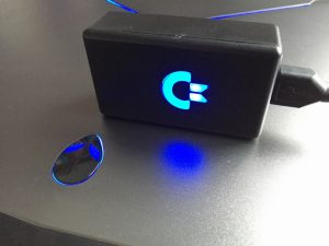USB adapter for Commodore joysticks with blue LED logo. breadbox64.com