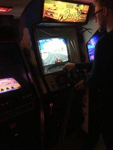 Out Run upright Arcade machine. Bip Bip Bar. Breadbox64.com