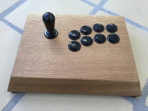 Myoungshin Fanta fightstick made from oak. breadbox64.com