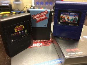 Commodore 64 cartridge games: Montezuma's Revenge, Giana Sisters,, Bubble Bobble. breadbox64.com