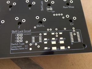 New keyboard for the C64. Black PCB with Shift Lock circuit.