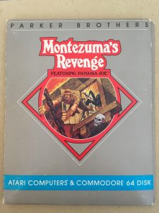 Montezuma's Revenge featuring Panama Joe from Parker Brothers for the Commodore 64. This is the front cover of the game.