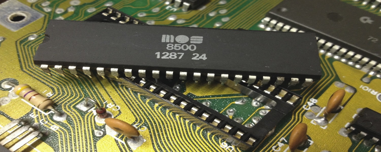 Commodore 64 Assy No. 250469 Rev. 3 repair log with a broken MPU (MOS 8500) at U6