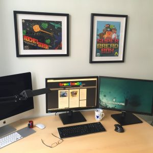 Commodore 64 office posters of Rocket Smash EX and Super Bread Box on breadbox64.com