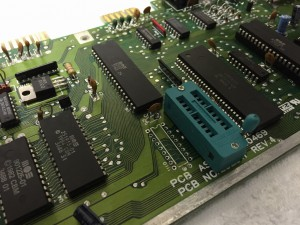 Assy 250469 Rev. 4 with a broken RAM IC. New ZIF socket mounted.