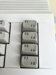 Commodore 64C keyboard with strange looking keys.