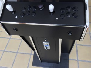 Monster arcade MAME cabinet control panel with white bat tops