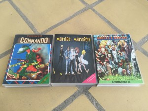 EasyFlash games for the Commodore 64. The Universal Game cases hold maniac mansion, Commando and Ghost 'n Goblins