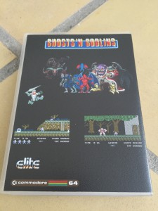 EasyFlash game cartridge with Ghost 'n Goblins game presented in a Universal Game case