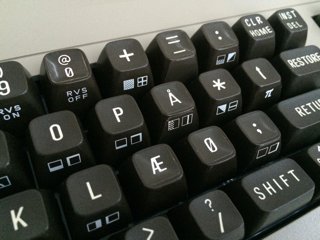 Commodore 64 with a Danish Keyboard layout. Stickers put on top of keyboards with the special characters. More on breadbox64.com