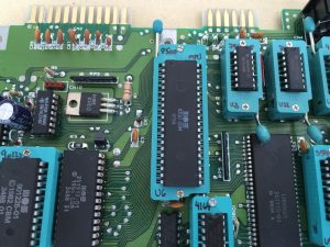 Commodore 64 Zero Insertion Force (ZIF) socket mod. C64 Assy 250469 board modified with ZIF sockets for easy IC chip testing. RAM and MPU chips