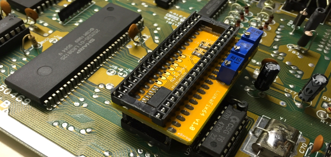 The LumaFix64 removes vertical lines from your Commodore 64. Read the review and see the pictures on breadbox64.com