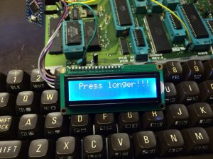 Commodore 64 cold reset. Switchless reset system using an Arduino Pro Mini and a LCD to display number of resets sinde last power-up. Read more on breadbox64.com including the source code for the project.