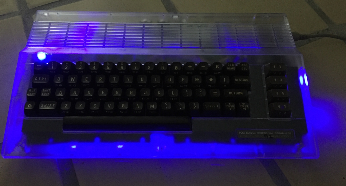 Commodore 64 modded with RGB LED's to light up during gaming.