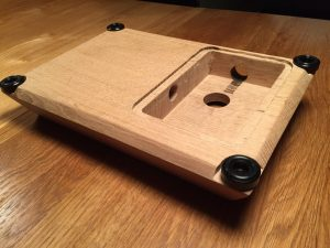 Fightstick made from a solid piece of oak wood. breadbox64.com