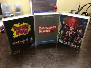 Commodore 64 cartridge games: Montezuma's Revenge, Giana Sisters,, Bubble Bobble. breadbox64.com