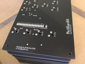Black PCB for the Commodore 64 keyboard. breadbox64.com